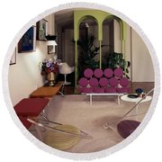 A Retro Living Room Round Beach Towel