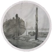 A River Scene With Vessel At Sunset Round Beach Towel
