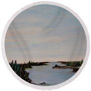 Round Beach Towel featuring the painting A River Shoreline by Marilyn  McNish