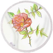 Round Beach Towel featuring the drawing A Rose In Brigadoon by Kip DeVore