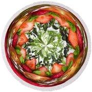 A Round Of Fresh Fruit Salad Round Beach Towel by Anne Gilbert