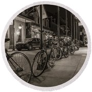 A Row Of Bikes In New Orleans  Round Beach Towel