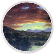 A Rural Home By Frederick Edwin Church Round Beach Towel