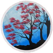 Round Beach Towel featuring the painting A Safe Place by Dan Whittemore