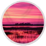 A Saint Helena Island Sunset Round Beach Towel by Patricia Greer