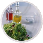 A Salad With Dressings Round Beach Towel