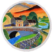 Round Beach Towel featuring the painting a Scottish highland lane by Magdalena Frohnsdorff