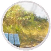 A Seat By The Ocean Round Beach Towel