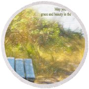 A Seat By The Ocean To Observe God's Beauty Round Beach Towel