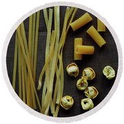 A Selection Of Uncooked Pasta Round Beach Towel