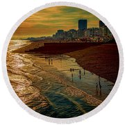Round Beach Towel featuring the photograph A September Evening In Brighton by Chris Lord
