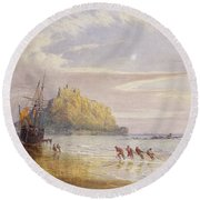 A September Evening, St Michaels Mount, Cornwall Round Beach Towel