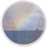 A Ship And A Rainbow Round Beach Towel