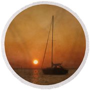 A Ship In The Night Round Beach Towel