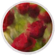 A Shower Of Roses Round Beach Towel by Colleen Taylor