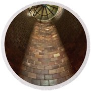 Round Beach Towel featuring the photograph A Silo Of Light From Above by Jerry Cowart