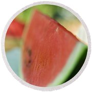A Slice Of Watermelon Round Beach Towel