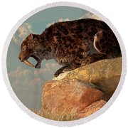 A Smilodon Sits On A Rock Surrounded Round Beach Towel