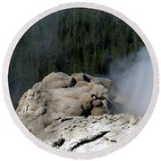 A Smoking Man. Yellowstone Hot Springs Round Beach Towel