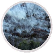 A Smoky Slope On White Draw Fire Round Beach Towel