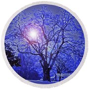 A Snow Glow Evening Round Beach Towel by Lydia Holly