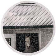 A Snowfall At The Stable Round Beach Towel