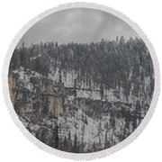A Snowy Day In Spearfish Canyon Of South Dakota Round Beach Towel