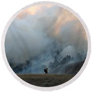 A Solitary Firefighter On The White Draw Fire Round Beach Towel