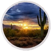 A Sonoran Desert Sunrise Round Beach Towel by Saija  Lehtonen