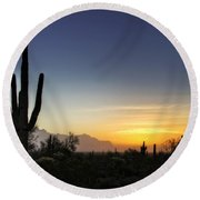 A Sonoran Sunrise  Round Beach Towel