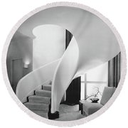 A Spiral Staircase Round Beach Towel