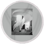 A Spiral Staircase Round Beach Towel by  Hedrich-Blessing