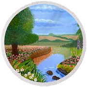 Round Beach Towel featuring the painting A Spring Stream by Magdalena Frohnsdorff