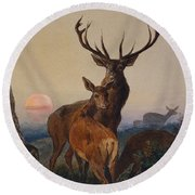 A Stag With Deer In A Wooded Landscape At Sunset Round Beach Towel
