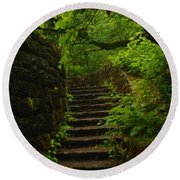 A Stairway To The Green Round Beach Towel