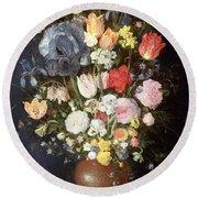 A Stoneware Vase Of Flowers, C.1607-8 Round Beach Towel