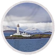 A Storm And The Lighthouse Round Beach Towel