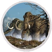 A Storm Of Mammoths  Round Beach Towel