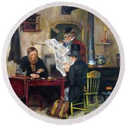 Round Beach Towel featuring the painting A Study Of Waiting For The Stage by Donna Tucker