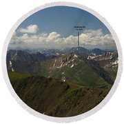 A Summit View Panorama Text Round Beach Towel