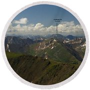 A Summit View Panorama With Peak Labels Round Beach Towel