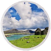 A Sunny Day In The Hebrides Round Beach Towel by Juergen Klust