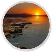 Round Beach Towel featuring the photograph A Sunset by Lynn Geoffroy