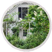 A Swell Side Entrance With Oakleaf Hydrangea Round Beach Towel