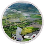 Round Beach Towel featuring the photograph A Swordfish Aircraft With The Royal Navy Historic Flight. by Paul Fearn