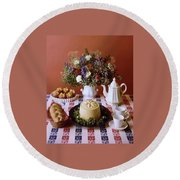 A Table Of Pastries Round Beach Towel