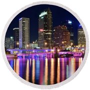 A Tampa Bay Night Round Beach Towel by Frozen in Time Fine Art Photography