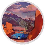 A Teal Truck In Taos Round Beach Towel by Art James West