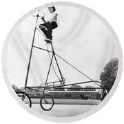 A Ten Foot Tall Tricycle Round Beach Towel