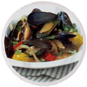 A Thai Dish Of Mussels And Papaya Round Beach Towel